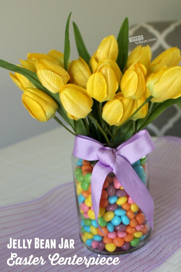 jelly bean jar easter centerpiece