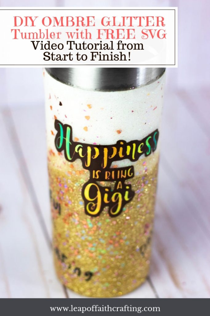 DIY Glitter Tumblers from start to finish. Learn how to apply mod podge, glitter, and epoxy with a video tutorial. #cricut #tumblers #glitter #freesvgfiles #mothersday