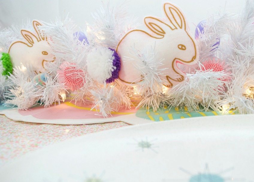 stuffed bunny table runner