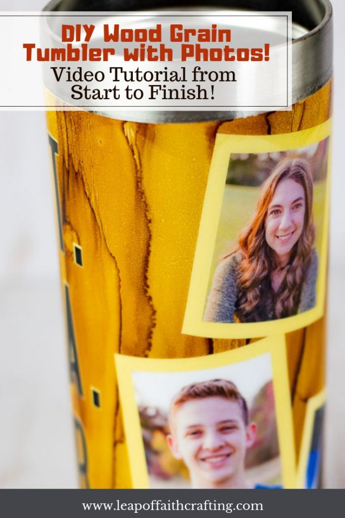 DIY wood grain tumbler tutorial from start to finish! Watch a full video tutorial on how to apply alcohol ink to achieve a wood grain appearance and how to add photos to a tumbler. #gifts #tumblers.