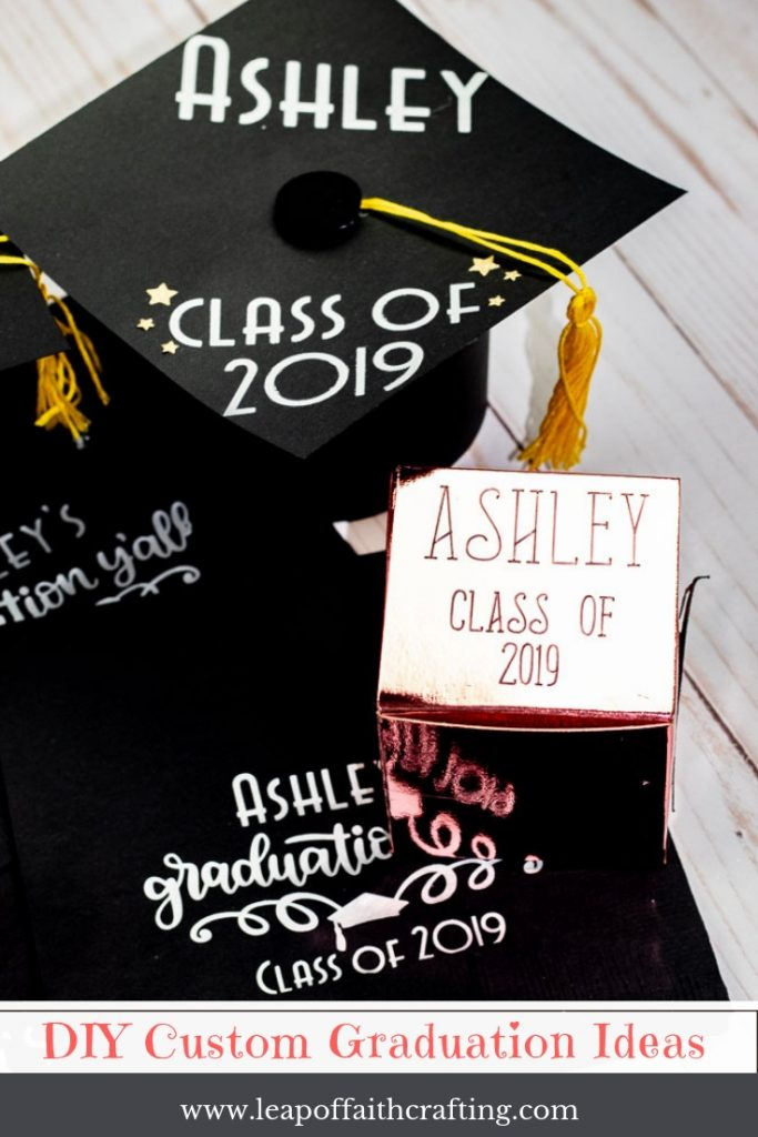 DIY graduation party ideas!  DIY custom napkins, decorated graduation cap out of paper and cute party favor boxes.  #ad #cricut #graduation