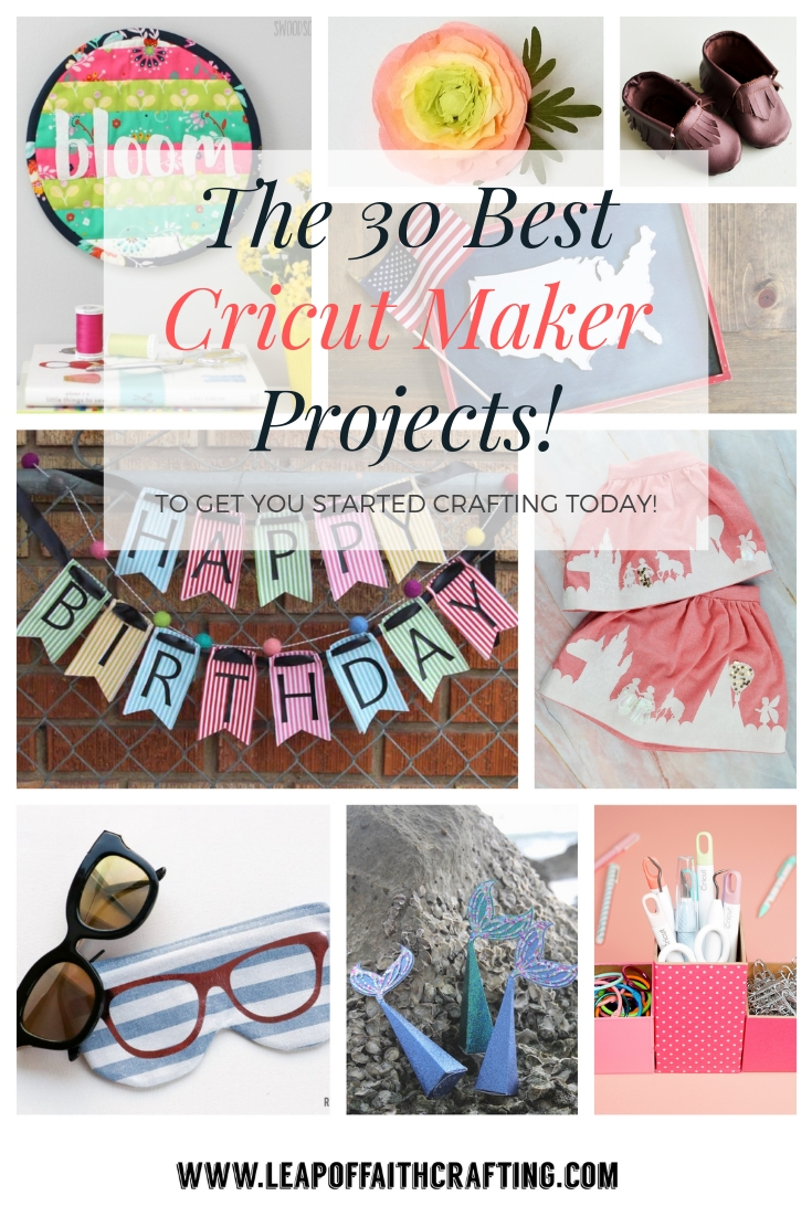 Over 30 Cricut Maker projects ideas including sewing, wood, and vinyl.  Get inspired to create with your Cricut!  #cricut #cricutmaker