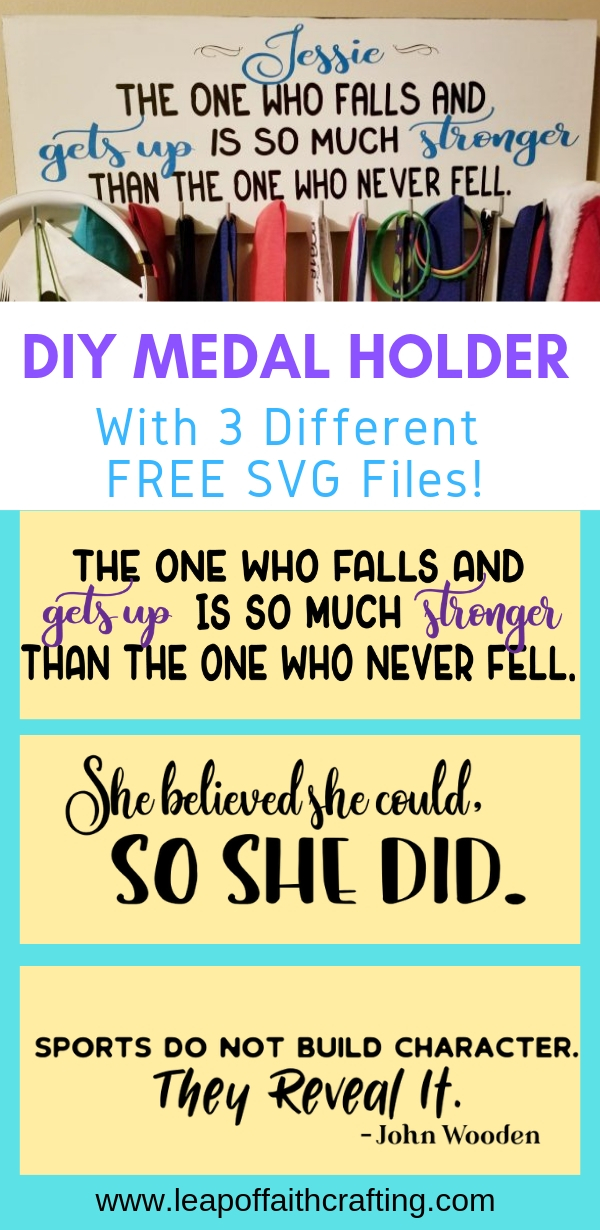 DIY medal display ideas for kids sports! Easy to make with these free SVG files! #cricut #diy