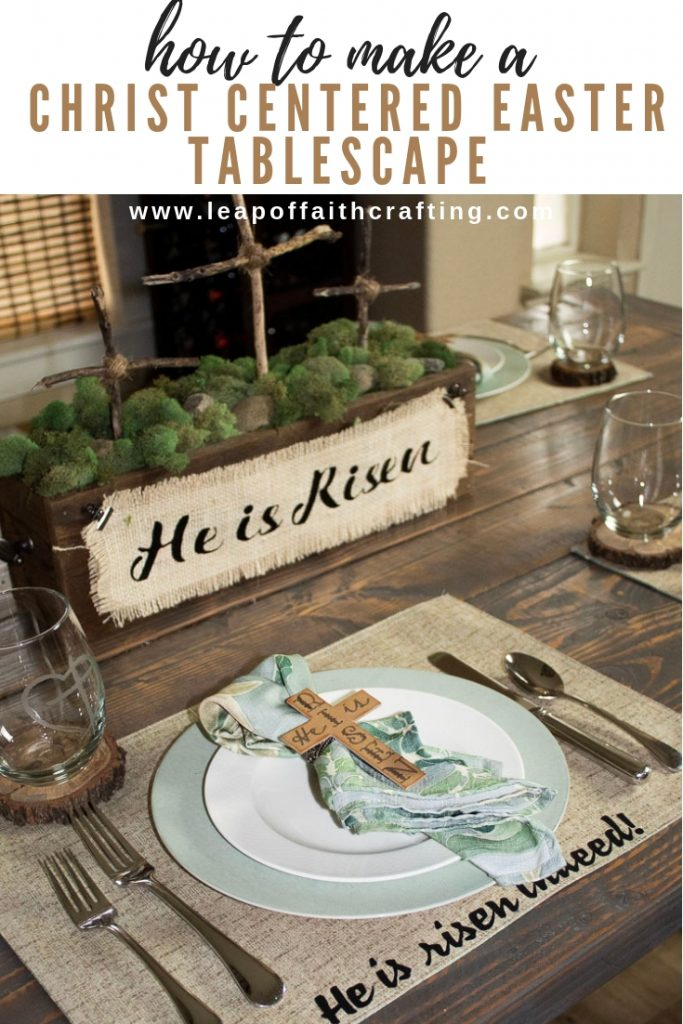 Christ centered Easter table with DIY napkin rings and placemats. Video tutorial on how to make the cross napkin rings out of chipboard with a Cricut Maker. #cricut #cricutmade #easter
