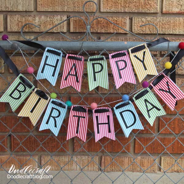 happy birthday fabric bunting made with cricut maker rotary blade iron on easypress