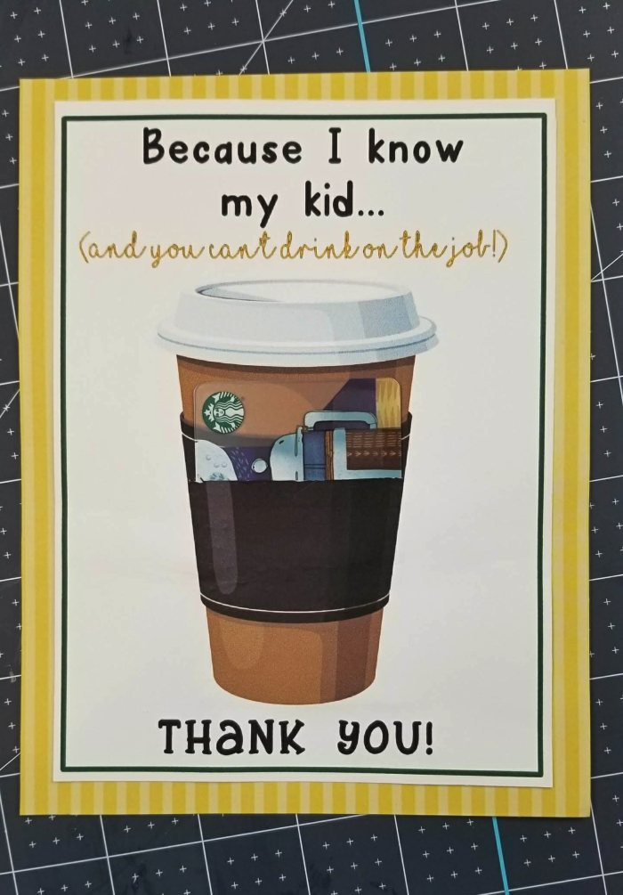 photograph about Starbucks Printable Gift Card identified as Printable Instructor Appreciation Playing cards: Only Insert a Present Card