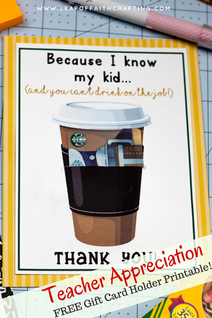 Starbucks Teacher Appreciation Week printable! Doesn't get much easier than printing out teacher cards and adding a gift card. #teacherappreciation #giftcard
