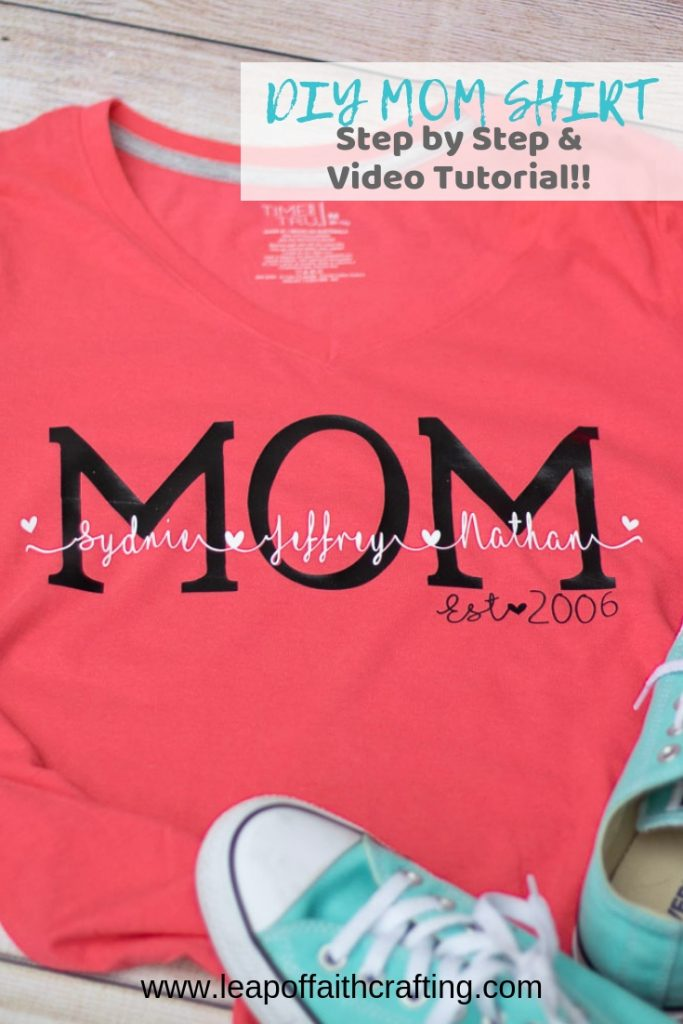 DIY Mom shirts with vinyl!  Watch a step by step video tutorial and grab printable instructions on how to design using I Love glitter font in Cricut Design Space.  #cricut #mom